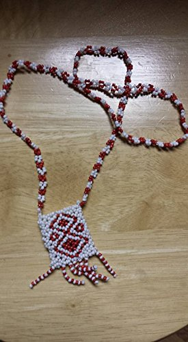 Native American inspired beaded ceremonial pouch necklace handmade