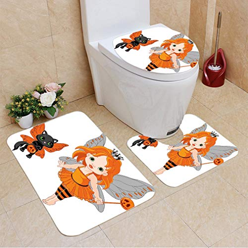 3 Sets of Bathroom Home, Bathroom Carpet + Contour pad + lid Toilet seat,Halloween Halloween Baby Fairy and Her Cat in Costumes Butterflies Girls Kids Room Decor Decorative, Flannel Carpet ()