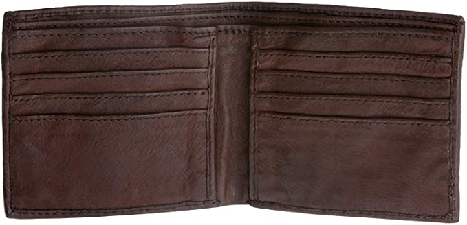 Biker Chain Wallet USA Made New Hand Dyed Brown Leather Trifold Trucker