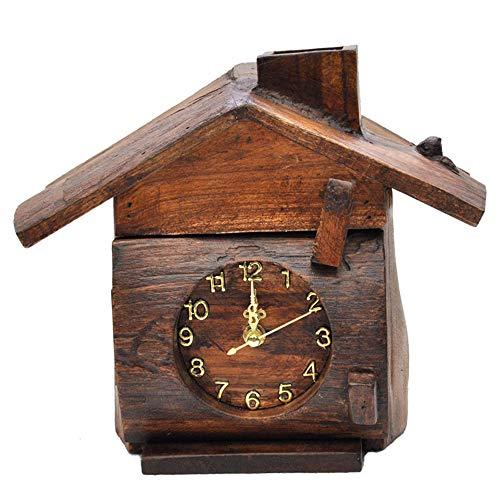 (JIANword Clock Tissue Box Teak Pure Handmade Craft Cabin Pendant Office Tissue Box (24X21X14cm))