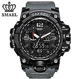 SMAEL Men's Sports Analog Quartz Watch Dual Display Waterproof Digital Watches with LED Backlight relogio masculino (Grey black)