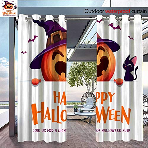 QianHe Balcony Curtains Happy-Halloween!-Jack-O-Lantern-Pumpkin-Witch-hat-with-Big-Signboard-4.jpg Outdoor Patio Curtains Waterproof