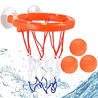 Bath Swimming Pool Ball Basketball Toys for Toddlers Boys Girls, 1 Hoop with Suctions Cups Stick to Wall & 3 Balls for Shooting