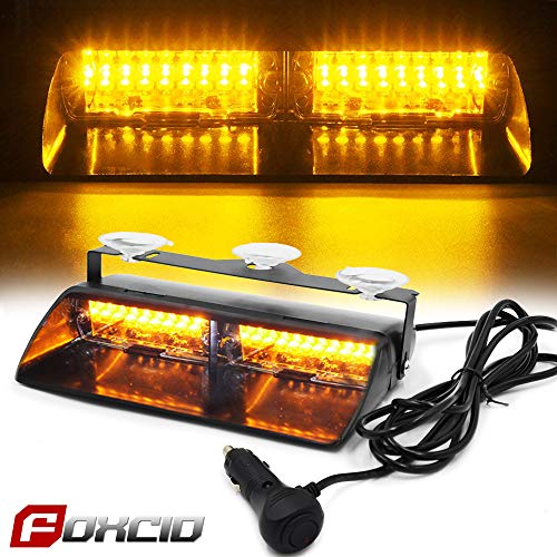 FOXCID 16 LED 18 Flash Mode Amber Strobe Light Lamp Bar for Emergency Car Truck -
