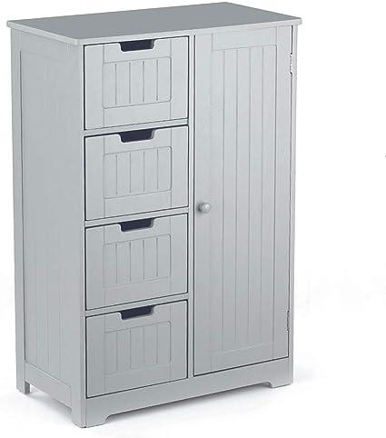 Oferta amazon: IKAYAA Cómoda Moderna con 4 Cajones y 1 Puerta/Armario de Piso/Mueble para Salón y Habitación y Baño Color Gris 56 * 30 * 81 cm