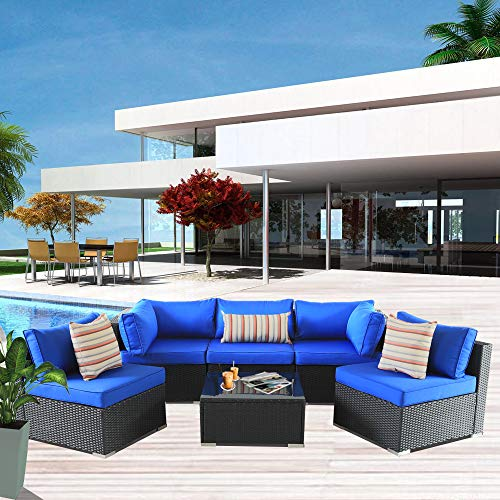 Patio Rattan Furniture 6pcs Outdoor Wicker Sofa Set Black Couch Sectional Set Conversation Cushioned Sofa