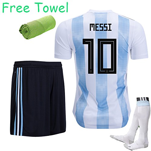 Price comparison product image KID SPORT 2017-2018 Football Soccer Jersey Light Blue / Black Home Kit Short Sleeve Sportwear 3-12 yrs +Socks Come With Free Ice Face Cloth (MESSI 10,  5-6 years)