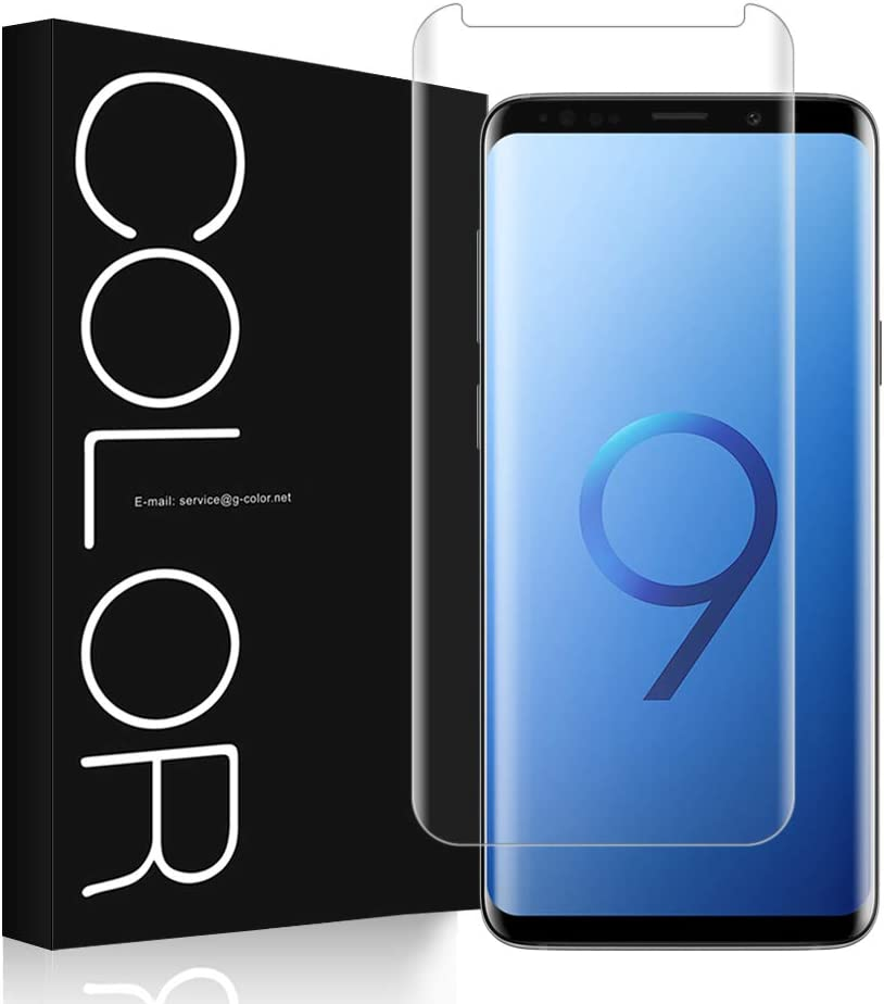 G-Color Galaxy S9 Protector Pantalla, [Alta Viscosidad], Cristal Vidrio Templado de 3D [Cobertura [Anti-Choque][Alta Sensibilidad] Protector de Pantalla para Samsung Galaxy S9