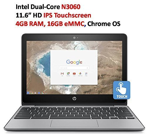 "2018 Newest HP 11.6"" HD IPS Touchscreen Chromebook with 3x Faster WiFi - Intel Dual-Core Celeron N3060 up to 2.48 GHz, 4GB Memory, 16GB eMMC, HDMI, Bluetooth, USB 3.1, 12-Hours Battery Life"