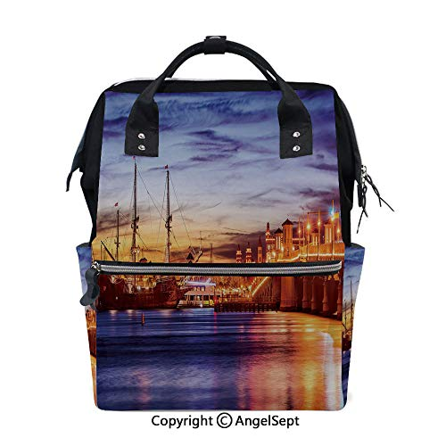 Travel&Outdoor Water-Resistant Baby Bags,St. Augustine Florida Famous Bridge of Lions Dreamy Sunset Majestic Decorative Orange Blue Coral,15.7 inches,Multi-Function for Mon ()