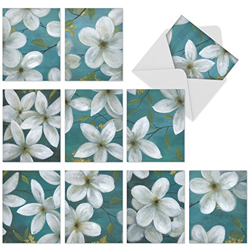 10 Jasmine Flower Note Cards with Envelopes (4