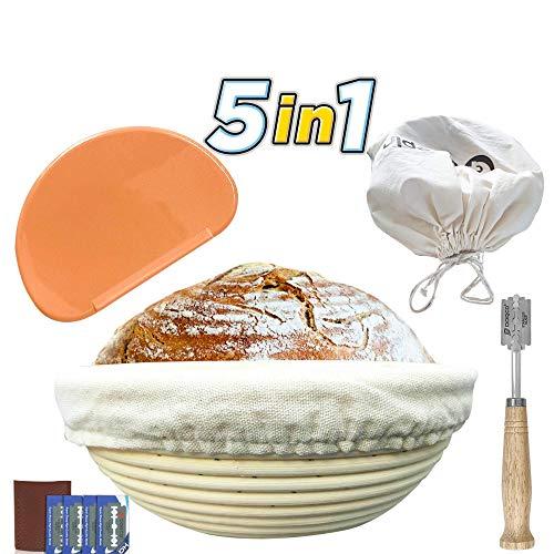 GLEEPIN SET: 9 Inch Round Banneton Proofing Basket Sourdough Bread Baking Tools, Rattan Handmade Bread Proofing Baskets & Bread Lame Dough Scoring Tool & Dough Scraper & Linen Liner Cloth &Bread Bags