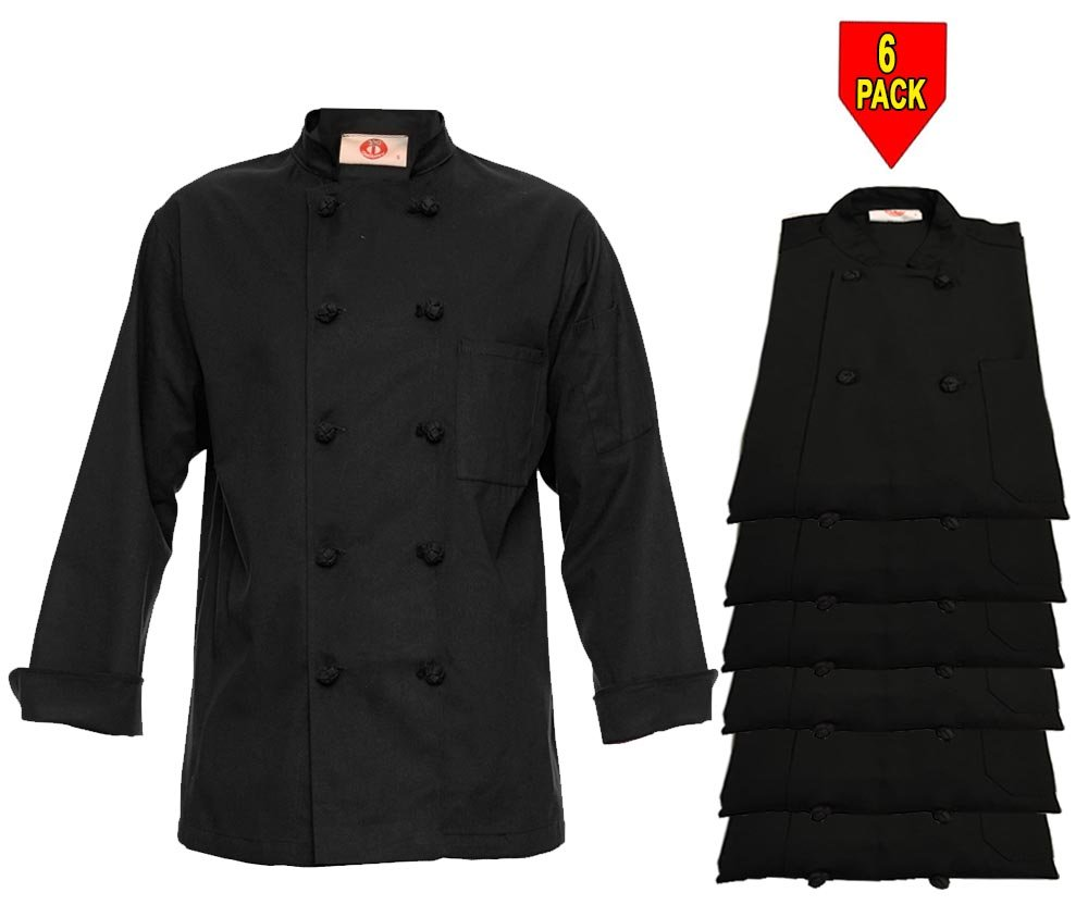 350 Chef Apparel 10 Knot Button Chef Coat-Easy-Care Twill,6 Pack Black,XX-Large