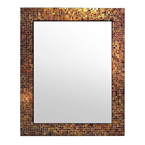 "DecorShore 30"" x 24"" Glass Mosaic Framed Decorative Wall Mirror, Handmade Eclectic Accent Mirror, Unique Vanity Mirror, Bathroom Mirror (Brown)"