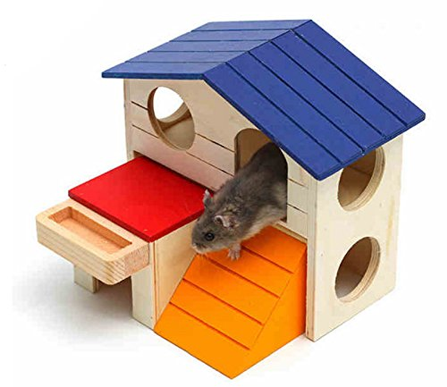 Hamiledyi Dwarf Hamster House Durable Odorless Non-Toxic Deluxe Two Layers Wooden Hut For Hamster Toys - Hut House