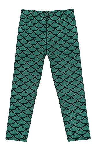 Scale Print (Kids Girls Night Club Full Length Mermaid Fish Scale Print Leggings Green M)