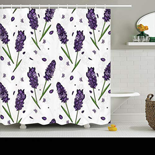 Pandarllin Shower Curtains 78 x 72 Inches Graphic Style Lavender Nature Blossom Waterproof Mildew Resistant Polyester Fabric Bathroom Set with Hooks -