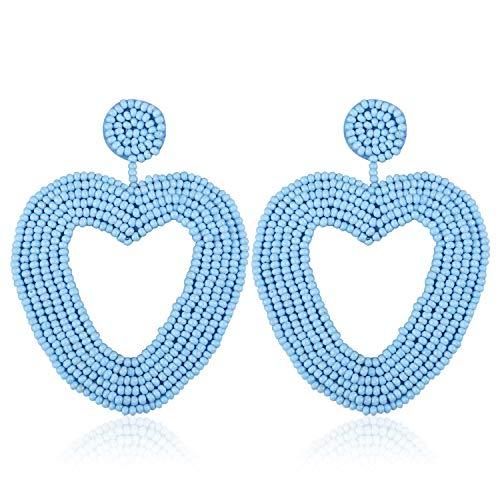 Earrings Drop Jewelry Heart (Heart Statement Bead Hoop Earrings Handmade Beaded Drop Dangly Earrings for Women Girls Bohemian Novelty Fashion Lightweight Daily Studs Ear Jewelry Accessories with Gushion Gift Box GUE135 Blue)