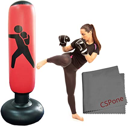 Punching Ball pour Adulte Enfant pour Fitness Karat/é Sac de Boxe Gonflable Sac de Frappe sur Pied CSPone 160CM MMA