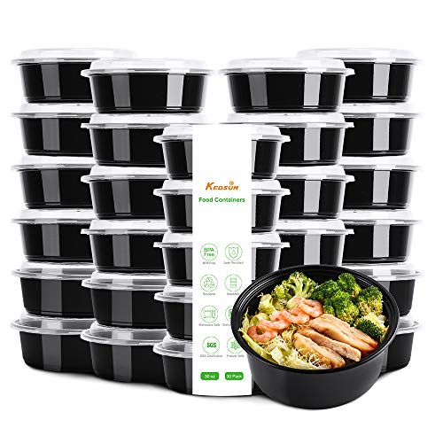KEDUSM Meal Prep Containers with Lids[30 Pack], Food Storage Bento Boxes - BPA Free, Stackable/Reusable Lunch Boxes, Microwave/Dishwasher/Freezer Safe, Portion Control(30oz)