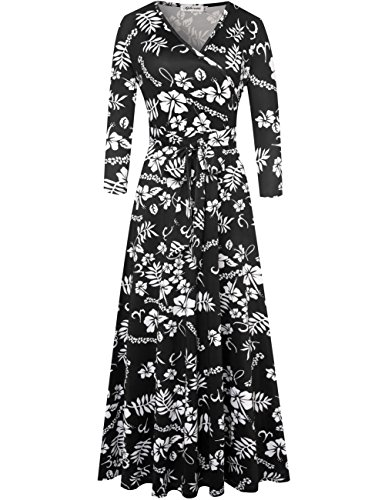 Aphratti Women's Bohemian 3/4 Sleeve Vintage Faux Wrap Long Maxi Dress X-Large Black ()