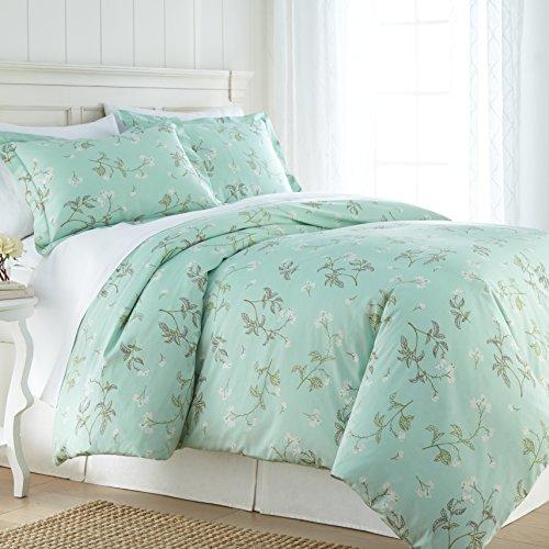 (Southshore Fine Linens - BRITEYARN - Myosotis Scorpiodes Print - 300 TC 100% Cotton Duvet Cover Set, Green, Twin / Twin XL)