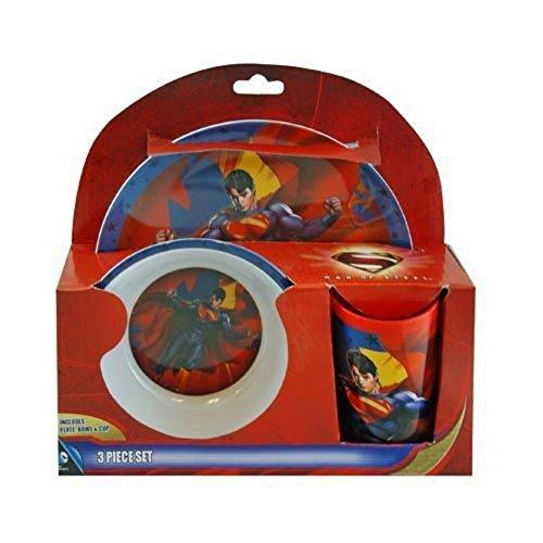 (SUPERHERO Snack Size Melamine Plates and Bowls Sets BATMAN, SUPERMAN, MAN OF STEEL, CAPED CRUSADER, Warner Bros. DC Comics (SUPERMAN Man of Steel Dinner Set (3pc)))