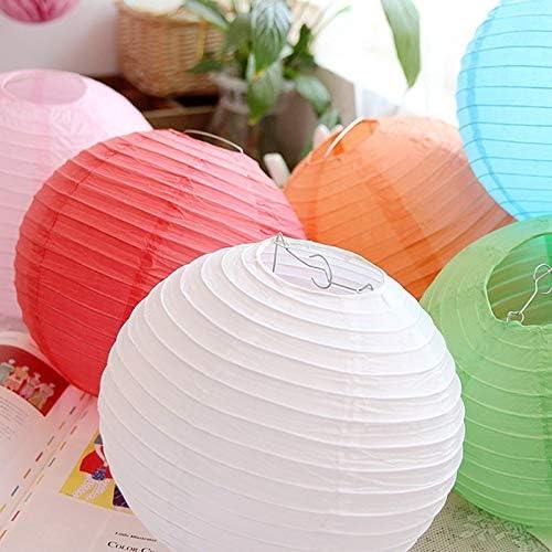Cratone 20Pcs Papier Lanternes Ronde Lampes en Papier pour Anniversaire De Mariage Partie D/écorations Artisanat Papier Suspensions Ronde Blanc D/écoration