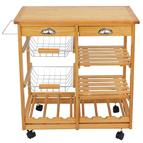 - Cypress Shop Wood Rolling Kitchen Island Trolley Cart Storage Cabinet Organizer Pantry Utility Shelves Dining Prep Meal Preparation Drinking Party Home Furniture (Stainless Steel Baskets)
