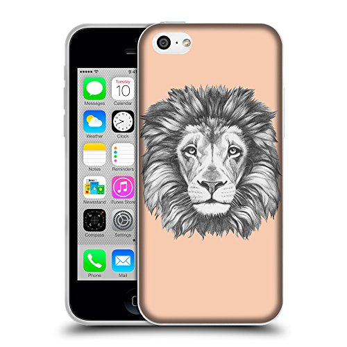 GoGoMobile Coque de Protection TPU Silicone Case pour // Q05160604 Dessin lion Abricot // Apple iPhone 5C