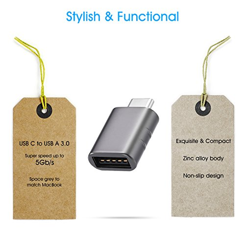 Syntech USB C to USB Adapter (2 Pack), Thunderbolt 3 to USB 3.0 Adapter Compatible with MacBook Pro 2019 and Before, MacBook Air 2019/2018, Dell XPS and More Type C Devices, Space Grey