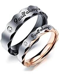 """Fate Love 2pcs Romantic """"I will always be with you"""" Couples Promise Engagement Wedding Ring Set/ Ring Necklace A Pair for Lover"""