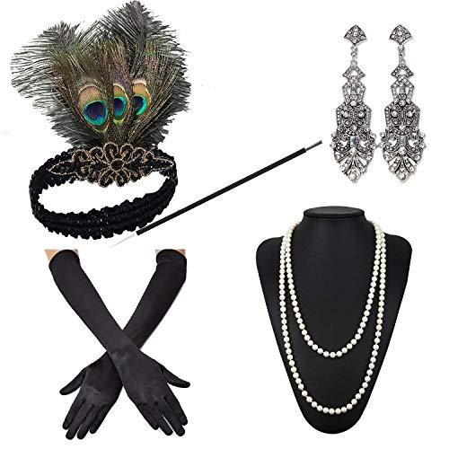 (ZeroShop 1920s Accessories Headband Earrings Necklace Gloves Cigarette Holder (Medium, M32))