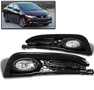 ZMAUTOPARTS 15 Honda Civic Sedan 4Dr Bumper Driving Fog Lights Lamp Chrome W/Bulb+Switch