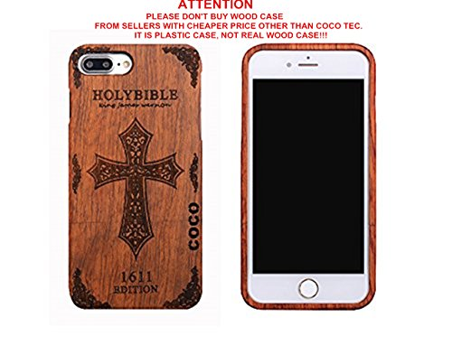 Wooden Tribute Box (CoCo@ iPhone 7 plus case, Iphone 7 plus Wooden Case Wood Cover 100% Unique Genuine Handmade Natural Wood Wooden Hard Bamboo Shockproof Case Like as Artwork for New Iphone 7plus (2016) (cross rosewood))