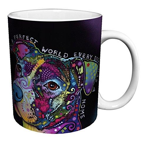 (Dean Russo Dog Perfect World Quote Modern Animal Art Porcelain Gift Coffee (Tea, Cocoa) 11 Oz. Mug)