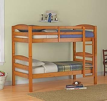 Amazon Com Twin Over Twin Wood Bunk Bed Pine Finish Furniture Decor