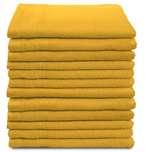 All Design Towels 12 Pack Washcloths Set Premium Quality | Thirsty Absorbent Soft & Plush Turkish Cotton - Yellow