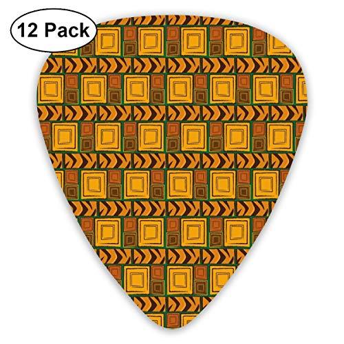 - Guitar Picks 12-Pack,Kenya Ethnic Motif With Geometrical Aztec Native American Effects Print Theme Art