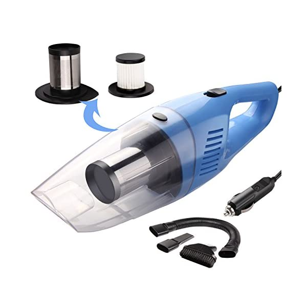 Car Vacuum, DawnFavor DC 12V 120W Strong Suction Car Vacuum Cleaner, 7000 Pa High Power Portable Hand Held Wet&Dry Use Auto Vacuum With Stainless Steel HEPA Filter, Car Cleaner With LED Light&16.4 FT