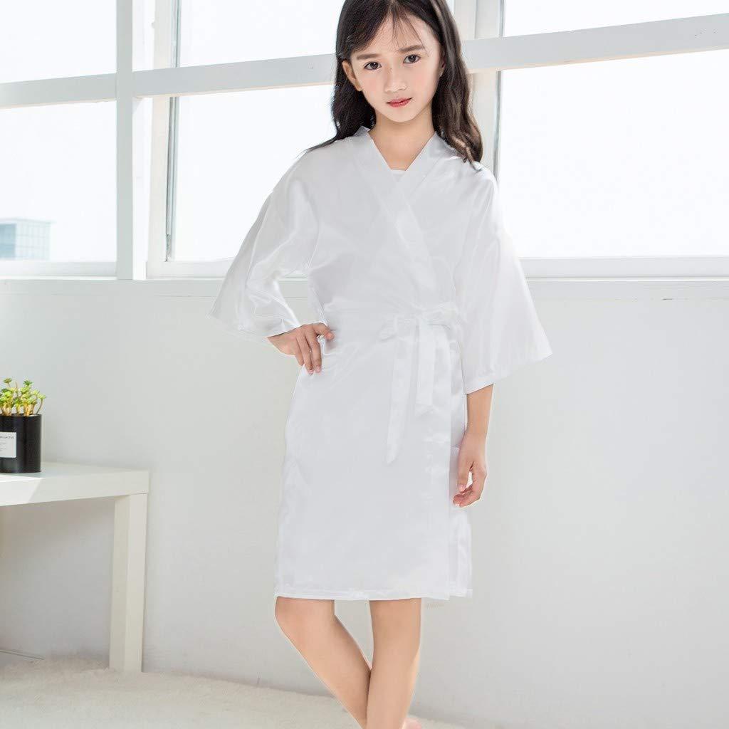 Clothful???????????? , Toddler Baby Kids Girls Solid Silk Satin Kimono Robes Bathrobe Sleepwear Clothes White by Clothful (Image #3)