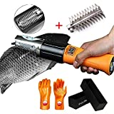 Powerful Electric Fish Scalers Electric Fish Scaler Scale Remover Fish Cesarean Section Tool Automatic Waterproof Fishing Scale Seafood Cleaner Brush Tool (with extra Cutter head)
