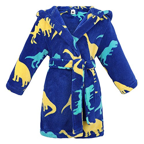Bath Birthday Legs (ARCTIC Paw Boys Kids Bathrobe Flannel Hooded Robe All Seasons Sleepwear,Dino,L)