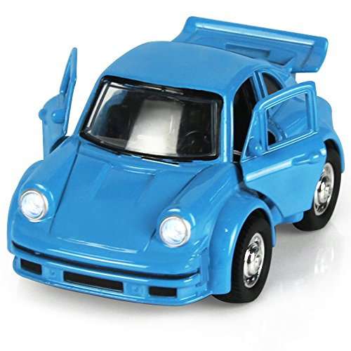 Toy Diecast Car Play Vehicles, Classic Diecast Model Cars, Old Car Models, Moving Vehicle Toys, Pull Back Action with Lights and Sounds 1:38 - iPlay, iLearn (Blue)