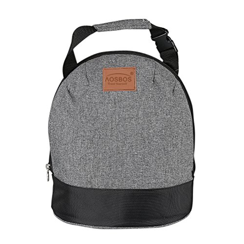 Aosbos Insulated Lunch Bag for Women Kids Girls Thermal Lunch Box Tote Bag with Shoulder Strap for Work School (Grey)