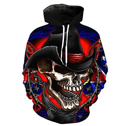 - One tree Men Thin Skeleton Cowboyn Printed Sport Hoodie Casual Hooded Sweatshirt Hoody 3XL