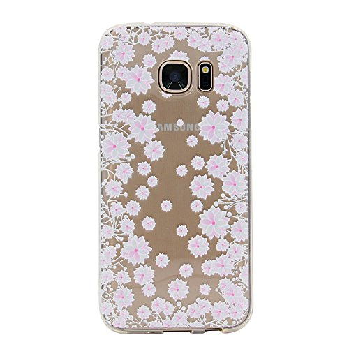 Galaxy S7 Edge Case, MC Fashion Ultra Thin Embossed Printing Floral Pattern Clear Transparent TPU Rubber Flexible Slim Skin Soft Case for Samsung Galaxy S7 Edge (White Pond Lily)