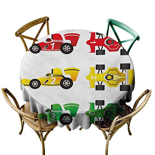 Premium Round Tablecloth 50 inch Boys Room,Cars at Start Line Background Winner Race Drivers Competition Design,Yellow Fern Green red Great for Buffet Table, Parties, Holiday Dinner & More