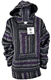 Yankee Forge Large Baja Shirt - Black & Purple Stripe - Woven Hoodie - Soft Brushed Inside - Unisex Pullover
