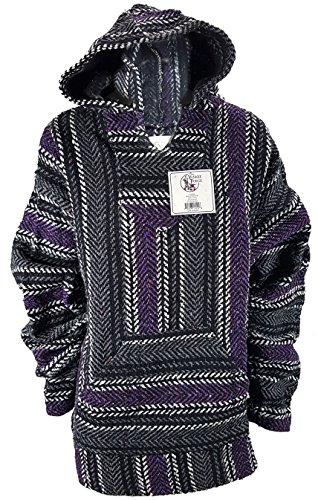 Yankee Forge Large Baja Shirt - Black & Purple Stripe - Woven Hoodie - Soft Brushed Inside - Unisex Pullover by Yankee Forge